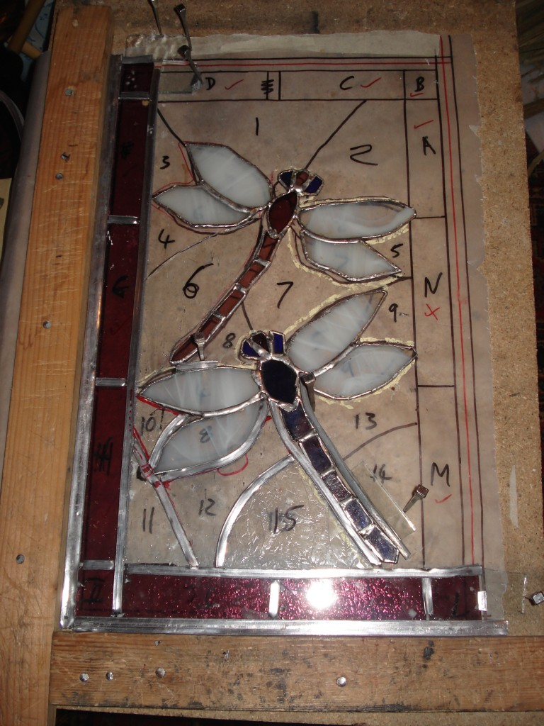 Dragonfly stained glass in progress