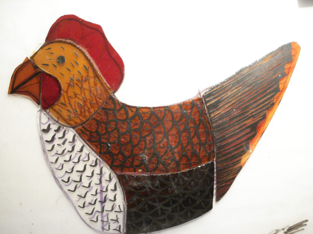 painted glass chicken